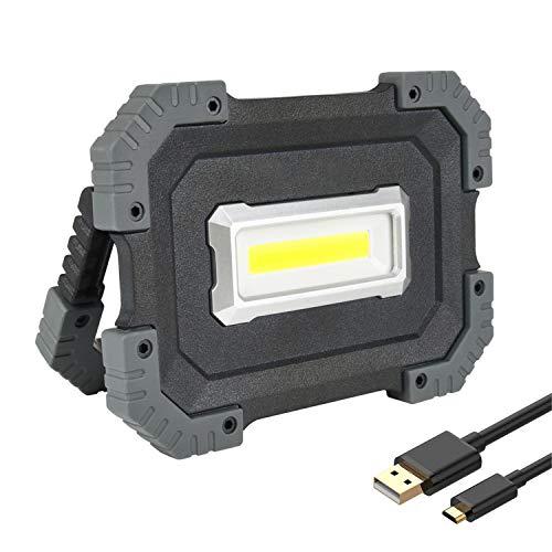 10W LED Strahler, USB LED Baustrahler Akku 1000 Lumen,Tragbare Arbeitslampe aufladbar, mit 4400mAh Powerbank,3 Lichtmodi für Baustelle,Werkstatt,Äußere Beleuchtung [Energieklasse A+]