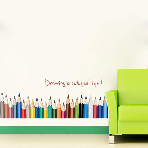 Wandtattoos & Wandbilder,Kreative Bleistiftzeichnung Baseboard Wandaufkleber Zeichnen Ein Buntes Leben Kinderzimmer Balkon Schlafzimmer Dekoration Bottom Line Decals