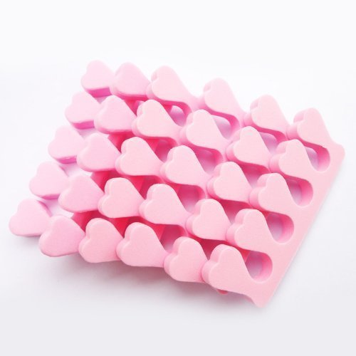 6 Pcs Soft Sponge Toe Finger Separator Nail Art Manicure, Pink by 100Tech