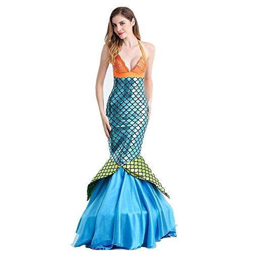 Rainbow Fox Sexy Schick Kleid Meerjungfrau kostüme Tier Kleider Frau zum cosplay Party, maskerade oder Halloween (XL, blau)
