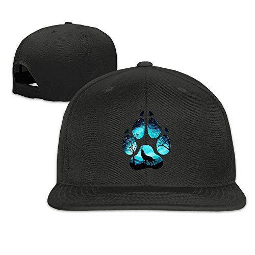 Mathe-cap (Xukmefat Unisex Paw Galaxy Night Wolf Adjustable Flat Brim Baseball Cap Hip Hop Hat 07024)