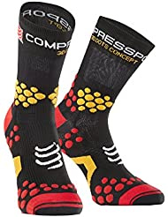 Compressport Trail 2.1 - Calcetín unisex, color negro / rojo, talla 3