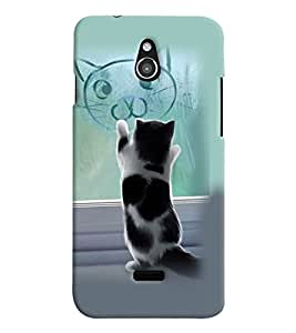 PrintVisa Stylish Cool Girl Cat 3D Hard Polycarbonate Designer Back Case Cover for Infocus M2