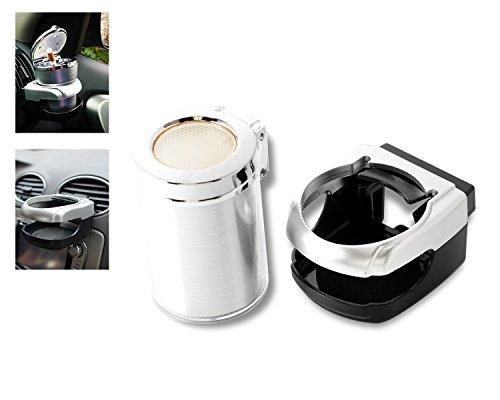 Preisvergleich Produktbild DSstyles Universal Auto Zigarette Aschenbecher Portable Auto Auto Aschenbecher mit LED Asche Halter Aschenbecher und Car Cup Holder - Silber