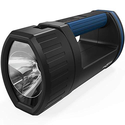ANSMANN LED Handscheinwerfer Akku mit 5200mAh aufladbar über Micro USB & Ladeaschale - Handlampe mit 3 Leuchtmodi (100%, 30%, Blinklicht), verstellbarer Lampenkopf, Suchscheinwerfer - Notbeleuchtung -