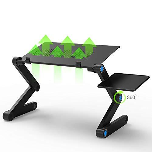 JUSTDODO Support d'ordinateur Portable réglable ventilé-Table de Lit Pliante Ordinateur