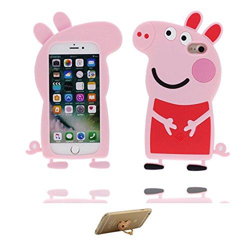 iPhone 7 Custodia, Morbido / flessibile TPU / pig / Case iPhone 7 copertura 4.7, Cover Shell Graffi Resistenti / Cartoon 3D maiale / ring supporto Color 3