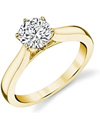 Charles & Colvard Forever One anillo de compromiso - Oro amarillo 14K - Moissanita de 5