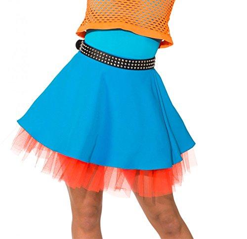 Rock 90er Kostüm Jahre - Unbekannt Rock Türkis/Orange mit Petticoat 80er 90er Jahre Kostüme Neonfarben Rock (38/40)