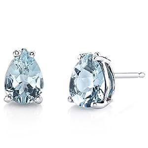 Revoni 14ct White Gold Pear Shape 1.00 Carats Aquamarine Stud Earrings