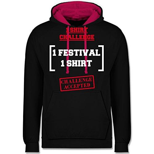 Festival - 1 Shirt Festival Challenge - Kontrast Hoodie Schwarz/Fuchsia