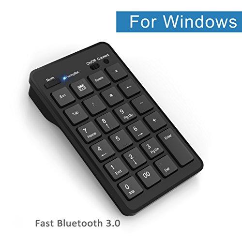 Cateck Tastierino numerico Wireless Bluetooth 23 Tasti, Tastiera numerica Bluetooth per Laptop e pc Desktop Windows - Nero
