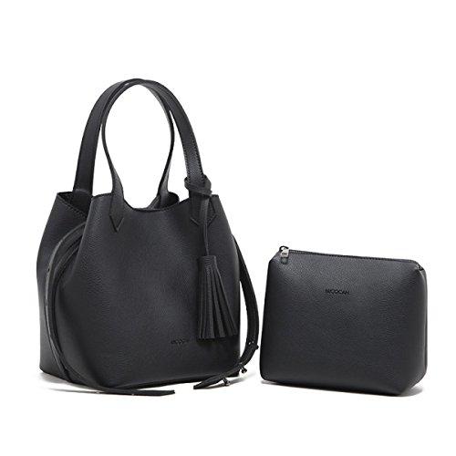Neue Mode Handtaschen Doppelseitige Quasten Leder Handtaschen Umhängetasche,Blue Black