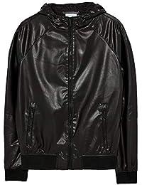 4244018d Zara Men's Faux Leather Jacket with Hood 8281/453 Black