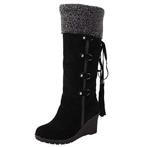 c897d04794bb6 Botas Mujer Invierno Altas Nieve Cuña Alpargatas Fur Rodilla Plataforma  Calientes Ante 7cm Alto Borla Knee