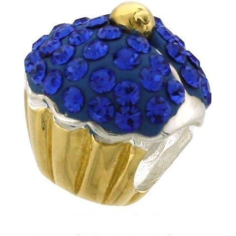Blue & Cupcake in argento Sterling, in oro 9 K, con Charm stile Pandora per braccialetti con perline