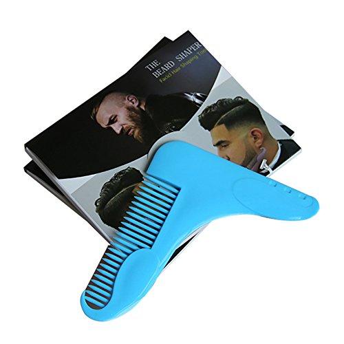e-bestar Bart Kamm Bart Gestaltung Werkzeug Bart Styling und Gestaltung Vorlage Kamm Instrument, um perfekt Bart Linien blau