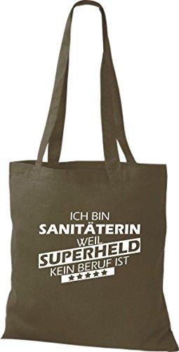 Shirtstown Sac en tissu Ich bin Sanitäterin, parce que Superheld aucun Occupation est Olive