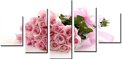 Wowdecor Wand Kunst 5 Stück Leinwand Malerei Drucke mehrere Bilder - Rosa Rose Blumen Blumenstrauß Giclee Bilder Malerei auf Leinwand, Poster Wand Dekor Geschenk gedruckt - Ungerahmt (groß) -