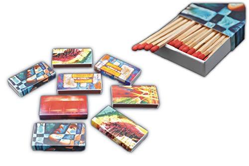 Schnäppchenladen24 XL Streichholzschachteln Kunst Motive: 8 x 50er Packungen / 10cm Kunstdruck modern Streichhölzer Zündhölzer