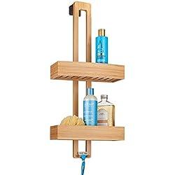 mDesign Estante Colgante para Ducha - Práctico Estante de baño para Montar sin Taladro - Organizador de Ducha de Metal y Madera para Colgar - Color bambú