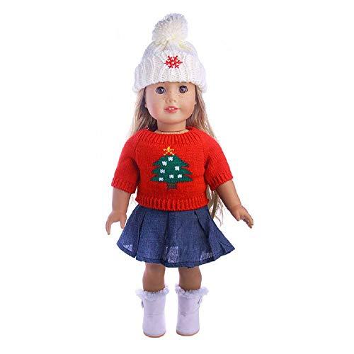 MM American Girl Accesorios de muñeca Ropa para muñecas de 18 Pulgadas, Conjunto de 3 Piezas de Ropa de Punto para bebé de Invierno, Falda, Sombrero, Ropa para American Girl Doll