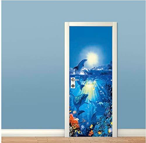 MYLOOO Tür Aufkleber Unterwasser Dophins Kunst Tür Aufkleber Tapete 3D Wandbild Wandaufkleber Aufkleber Deco Foto Selbstklebende Tür Wrap 77x200cm Weihnachten