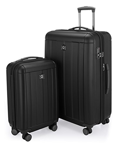 HAUPTSTADTKOFFER - Kotti - 2er Koffer-Set Trolley-Set Rollkoffer Reisekoffer, TSA, (S & L), Schwarz matt