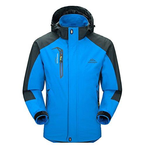 Diamond Candy Giacca a Vento softshell per Uomo con cappuccio da Trekking Montagna Pouring Adventure e Outdoor Sports Blu XL