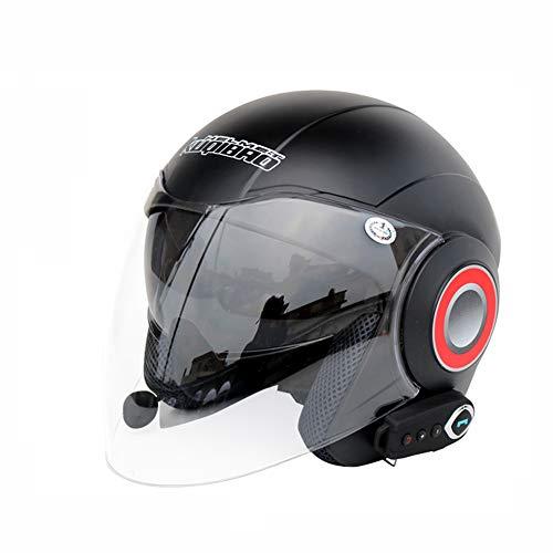 GLEI-TK Open Face Motorrad-Helm Halb Helme-Bluetooth + FM