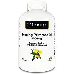 Aceite de Onagra | 1000mg x 200 perlas | Calidad Premium, Prensado en frío, 10% GLA | Para el equilibrio hormonal de las mujeres y la saludo de la piel y los huesos | 100% Natural