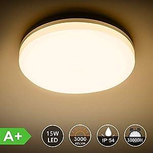 Ouyulong Badezimmer LED Deckenleuchte, IP54 wasserdicht, 22 cm Durchmesser, warmweißes Licht, 1350lm 3000K, moderne minimalistische Schlafzimmer Wohnzimmerdecke