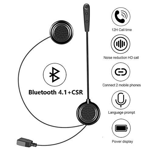 EJEAS Cuffia per Casco Moto Auricolari Cuffie Bluetooth Musica Stereo, E1 Bluetooth 4.1 Navigatore e MP3, Raggio di 10m, Interfono Cuffia e Microfono Sportivo Sci Bicicletta Arrampicat