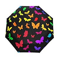 Funnyy Colorful Butterfly Rainbow Auto Folding Windproof Compact Portable Umbrella Travel for Girls Kids Men