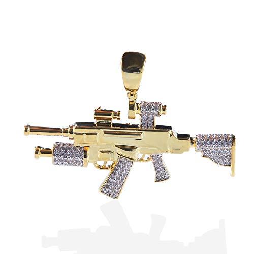 Qiulv Scharfschützengewehr Hiphop Anhänger 18K Gold überzogene