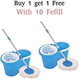 Navraj Easy Magic Floor Mop 360° Bucket PVC with 2 Micro Fiber Refills (Random Color)
