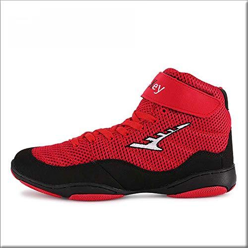 FJJLOVE Wrestling-Schuhe, Atmungsaktive Wrestling-Schuhe Stiefel Schnüren rutschfeste Boxschuhe Für Männer, Frauen, Kinder, Jungen Und Mädchen,Rot,37
