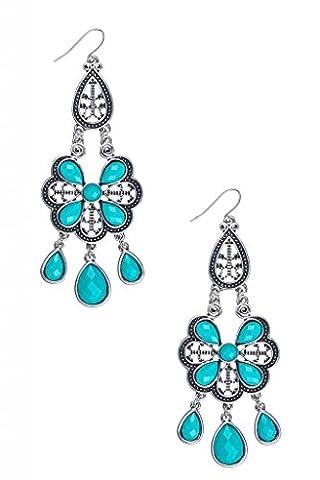 Lux Accessories - Boucles D'Oreille En Forme De Larme Ornées De Perles