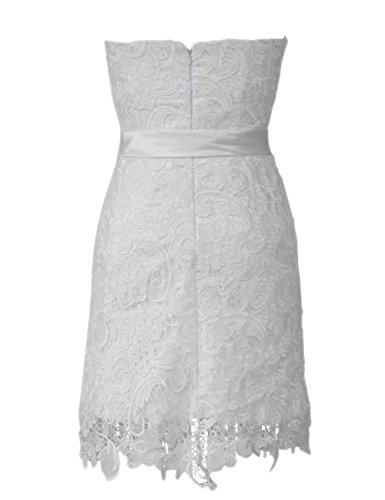 Dresstells, robe courte de demoiselle d'honneur dentelle, robe bustier blanche Blanc