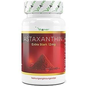 Astaxanthin 12 mg - 70 Softgel Kapseln mit natürlichem Vitamin E & Olivenöl - Starker natürlicher Antioxidant - Hochdosiert - Hohe Bioverfügbarkeit - Premium Qualität - Vit4ever