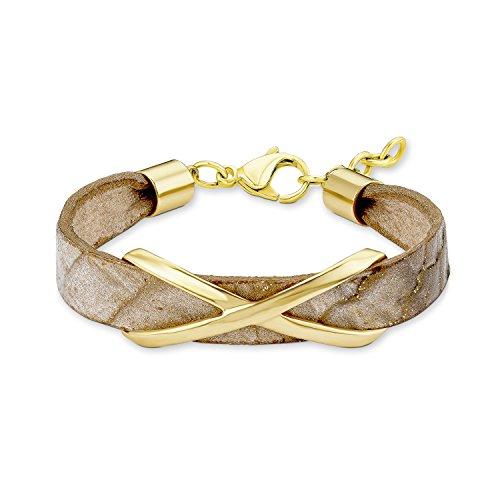 s. Oliver Damen-Armband Edelstahl teilvergoldet Leder 19 cm - 540223