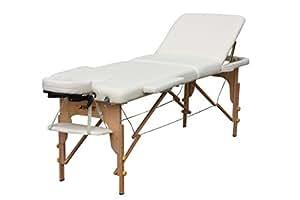 H-Root 3 Abschnitt leichte tragbare Massage Tisch Couch Bett Sockel Therapie Tatoo Salon Reiki Heilung schwedische Massage 13,5 KG (Creme)