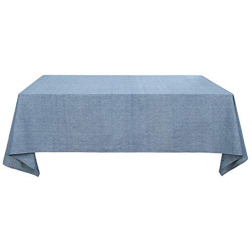 Deconovo Tischdecke Wasserabweisend Tischwäsche Lotuseffekt Tischtücher 140x240 cm Blau
