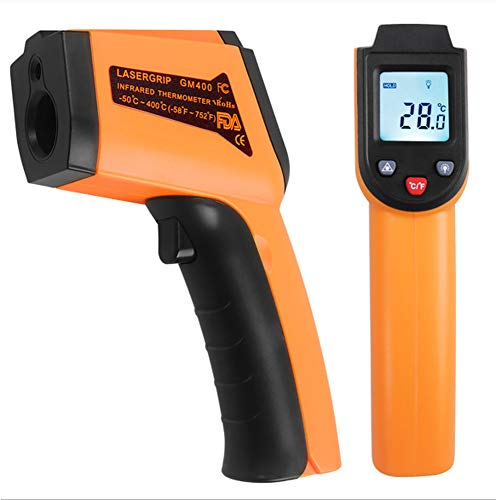 Termómetro infrarrojo láser digital sin contacto, -50 °C ~ 400 °C, amarillo/negro