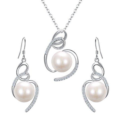 ckset 925 Sterling Silber CZ Süßwasser-Zuchtperle Ribbon Swirl Halskette Ohrringe Schmuck Set Klar ()