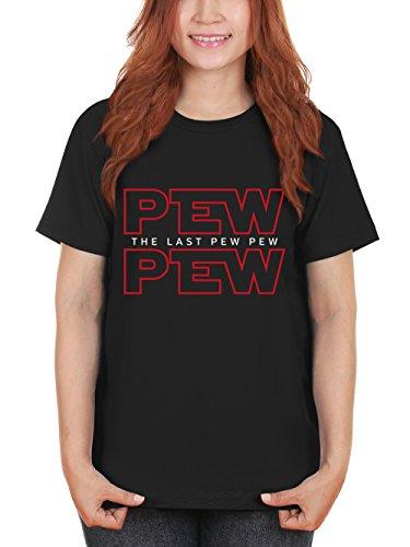 clothinx Damen T-Shirt Pew Pew The Last Pew Schwarz