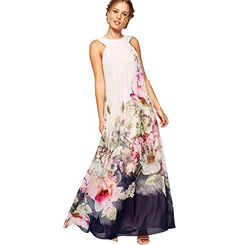 TUDUZ New Arrival Hot Women Summer Casual Loose Flare Floral Printed Sleeveless Long Maxi Dress Elegant Chiffon Sundresses