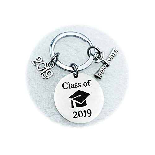 Coniea Schlüsselanhänger Runde Doktor Hut mit 2019 Anhänger Class of Schlüsselanhänger Damen Silber Schlüsselanhänger Edelstahl Geschenk Damen (Bvb-charme-armband)