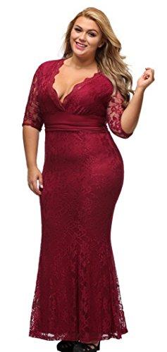 La Vogue Femme Robe Grande Taille Hanche Dentelle Col V Soirée Rouge