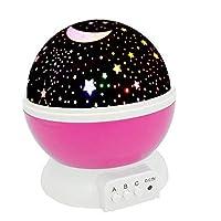 مصابيح ليلية للبنات، مصابيح ZHOPPY Star and Moon Starlight Projector مصباح السرير الجانبي لغرفة الأطفال وتزيين غرفة النوم - هدايا عيد الميلاد للبنات، وردي